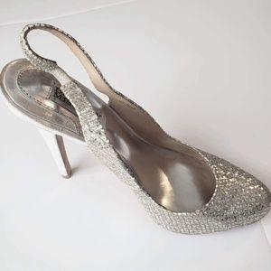 Badgley mischka sling back sparkle heels